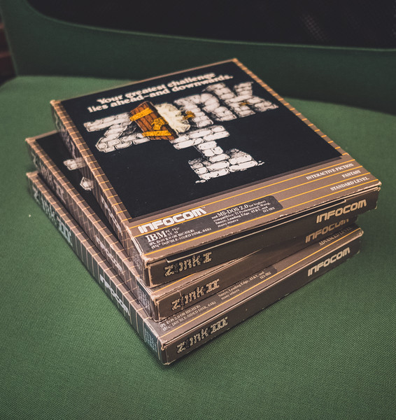 "Zork I, II and III boxes with 5.25"" MS-DOS disks"