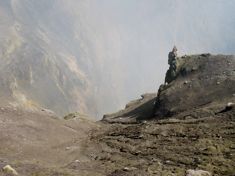 Sulfur fumes from the crater