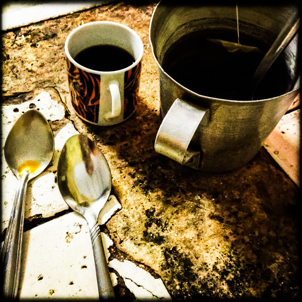 my coffee and morning tea on the kitchen countertop