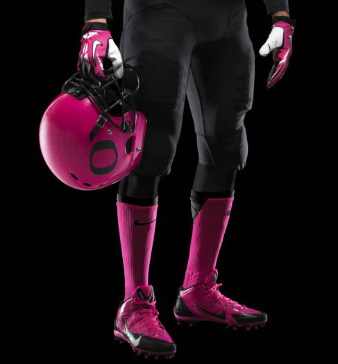 ". <p>4. OREGON DUCKS <p>Breaking out new uniforms to raise awareness of Pepto Bismol, which you need to watch their usual unis. (unranked) <p><b><a href=\'http://ftw.usatoday.com/2013/10/oregon-pink-helmets/\' target=""_blank\""> HUH?</a></b> <p>  (Nike photo courtesy of GoDucks.com)"