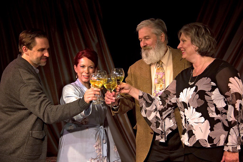 . Brian Bowers, left, Tricia Bestic, Dana Hart and Julia Kolibab perform in Cesear�s Forum�s �Life x 3.� The production continues through Oct. 28 at Playhouse Square\'s Kennedy\'s Down Under. For more information, visit playhousesquare.org. (Greg Cesear)