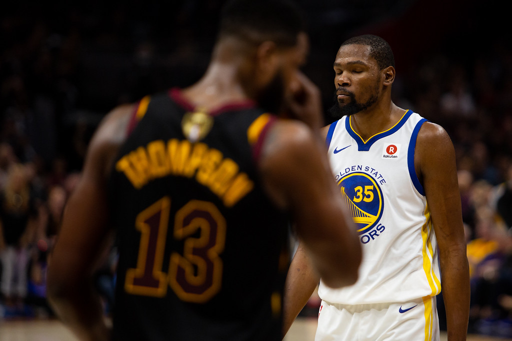 . Kevin Durant closes his eyes for a moment during game 3 of the 2018 NBA Finals in Cleveland on June 6, 2018.  Michael Johnson/ The News Herald