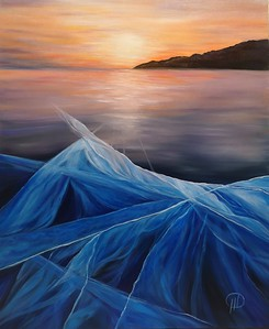 """Ice mysticism of lake Baikal"" (oil on canvas) by Natali Demina"