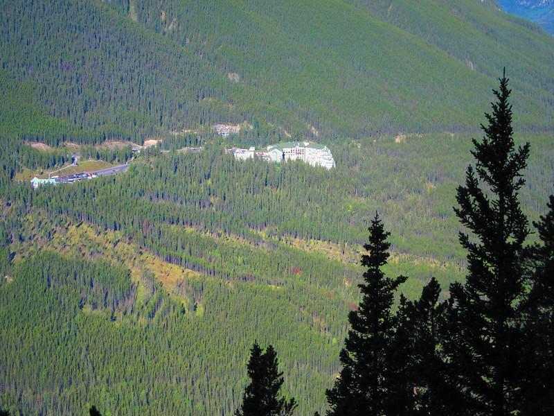 Telephoto - Gondola base on left; Banff Upper Hot Springs just left and above large hotel.
