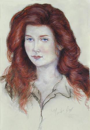 """Red Head (Lynn Stadum)"" (pastel on paper) by Merrilyn Duzy"