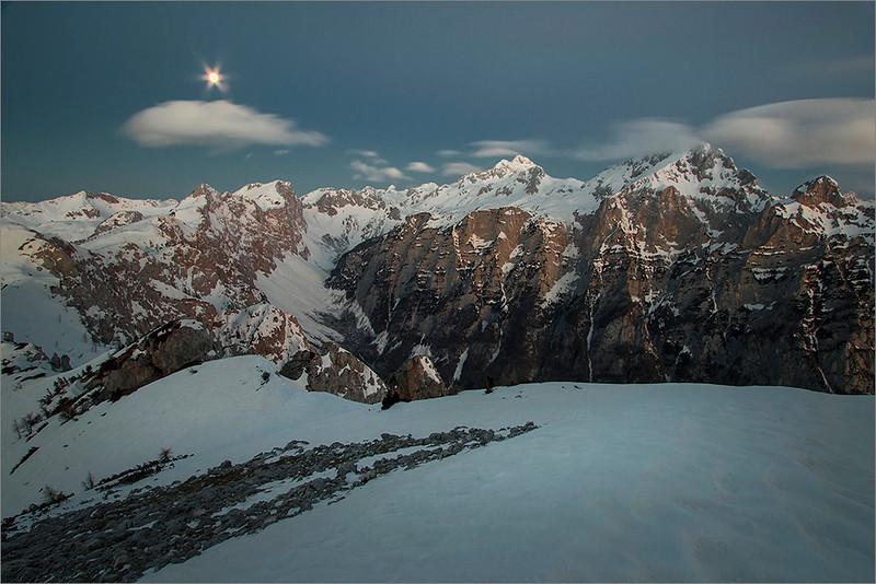 Mt. Triglav in the moonloght