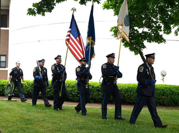6/1/2018 Mike Orazzi | Staff The Honor Guard during the Bristol Police fallen officer ceremony held on North Main Street Friday.
