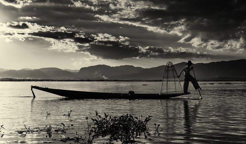 Fisherman on Inle Lake.  Inle Lake, Myanmar, 2017.