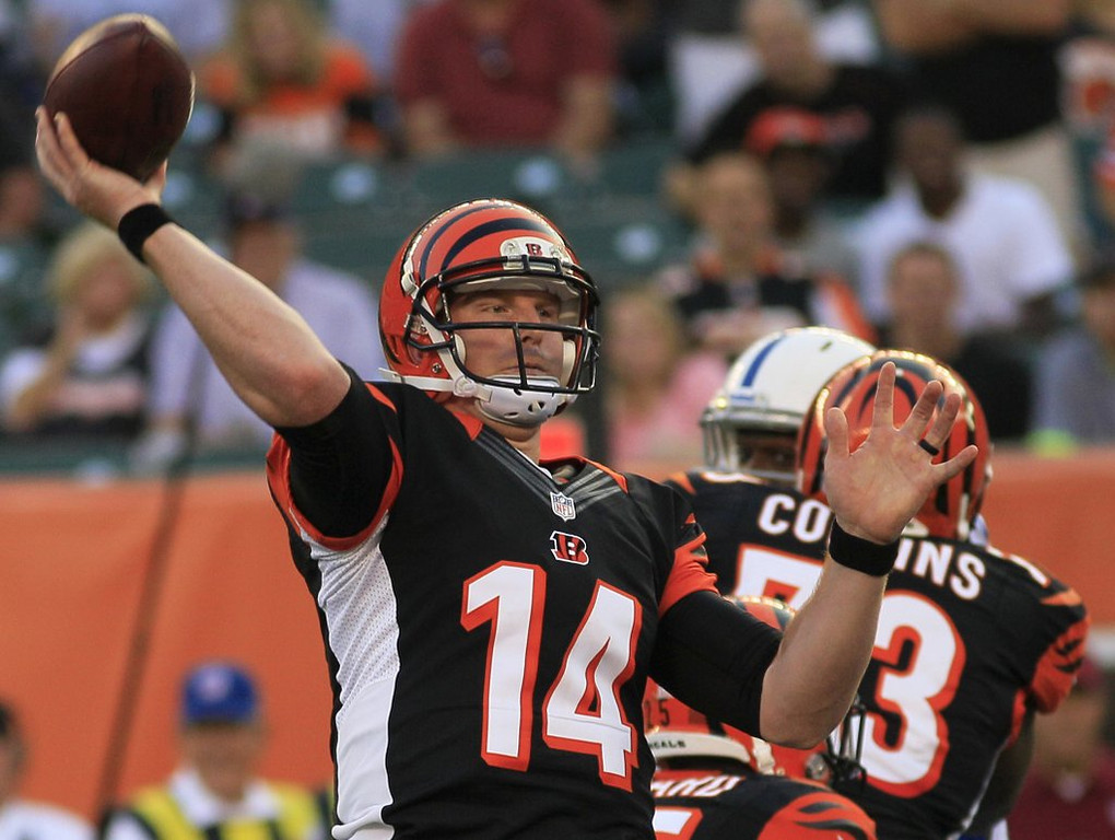 . <p><b> Bengals at Bears (-3):</b>  <p>Bengals� �Hard Knocks� proved to be one of HBO�s most popular shows, mostly because viewers didn�t have to see Lena Dunham naked. <p>Pick: <b>Bengals by 7</b> <p>    (AP Photo/Tom Uhlman)