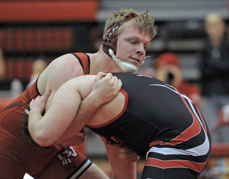 Caleb Stokes of Chippewa Valley wins in the 215 class over Jackson Ries of Anchor Bay. THE MACOMB DAILY PHOTO GALLERY BY DAVID DALTON