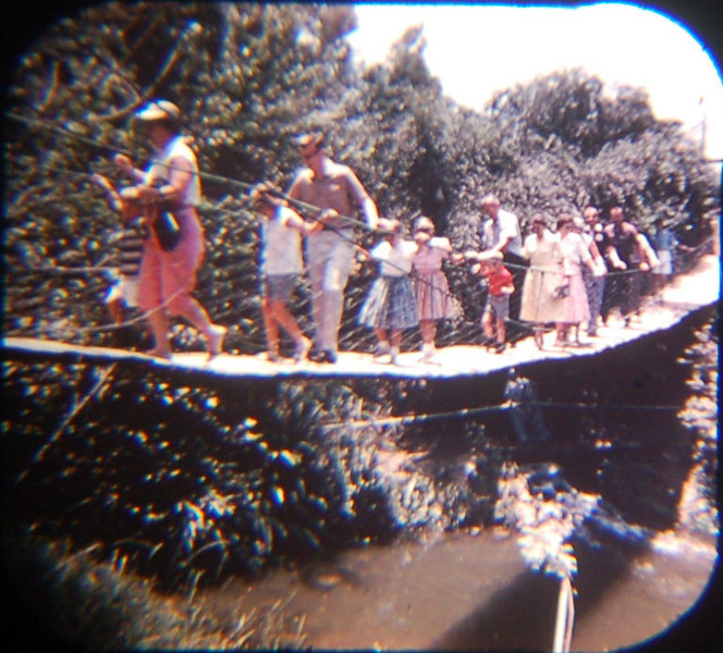 1959 Viewmaster of the suspension bridge on Tom Sawyer's Island. Notice how people are dressed.