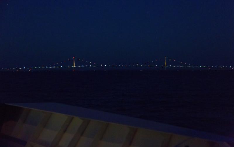 We approach the huge Mackinac Bridge as night falls.