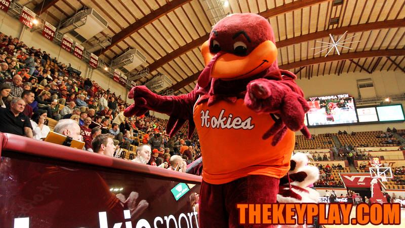 The Hokiebird walks on the court a before the pre-game ceremonies begin. (Mark Umansky/TheKeyPlay.com)