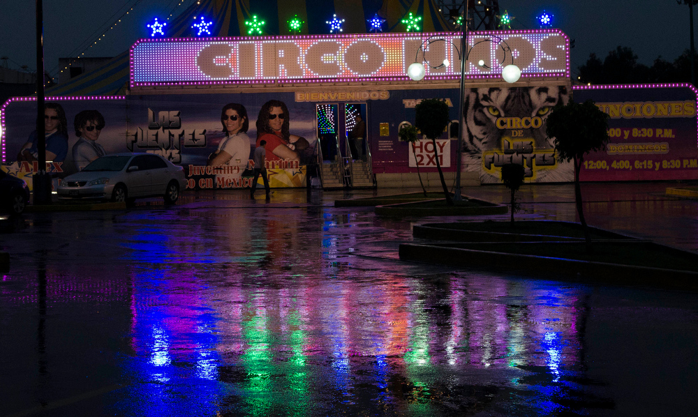 . In this June 25, 2014 photo the entrance to the circus is vacant between performances in Mexico City. Sandwiched between a Sam�s Club and a Wal-Mart on the outskirts of the city the circus has been in existence in one location or another in the city for five generations. (AP Photo/Sean Havey)
