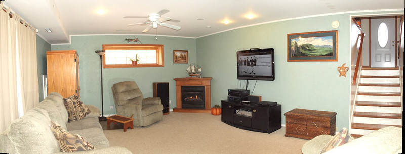 Large family room with cozy fire place!