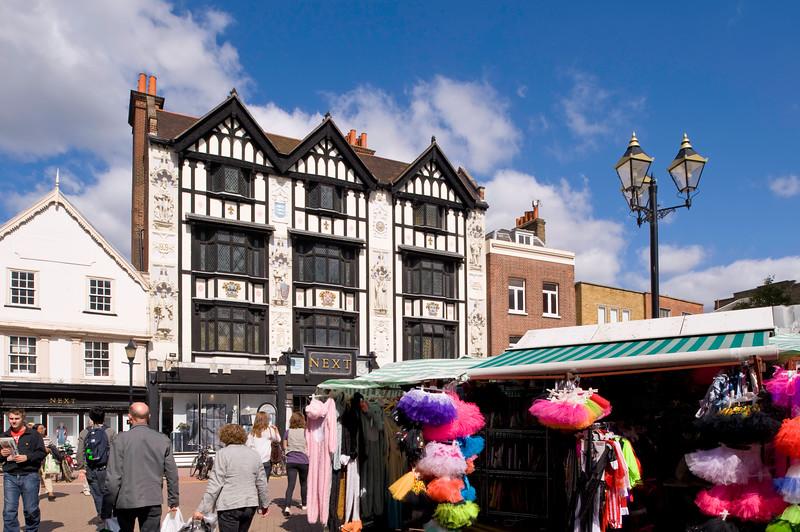 People shopping at Market Place, Kingston upon Thames, Surrey, United Kingdom