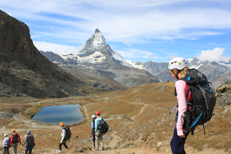 Swiss Semester heading to Riffelalp to climb with the Matterhorn front and center