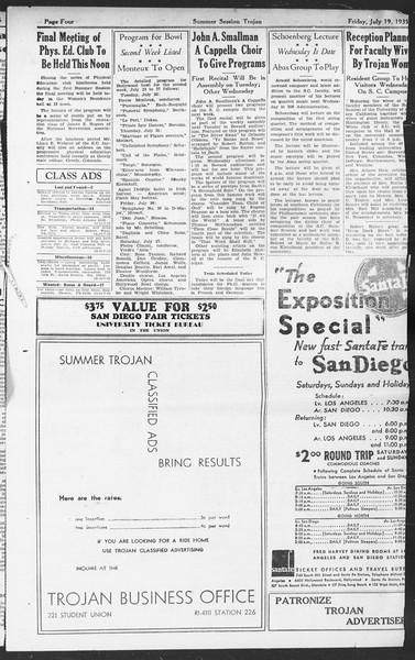 Summer Session Trojan, Vol. 14, No. 10, July 19, 1935