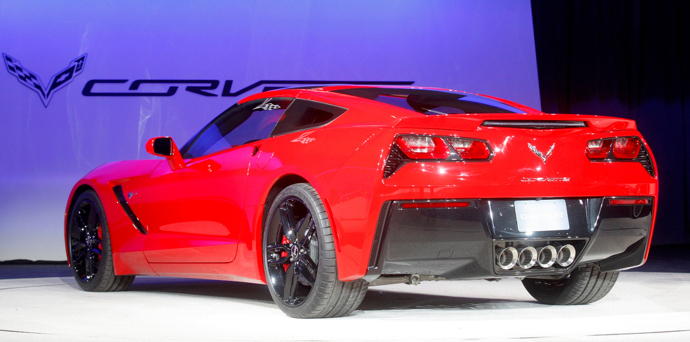 . Rear view of the 2014 Chevrolet Corvette Stingray as it is introduced at the North American International Auto Show in Detroit, Michigan January 14, 2013.  REUTERS/Rebecca Cook