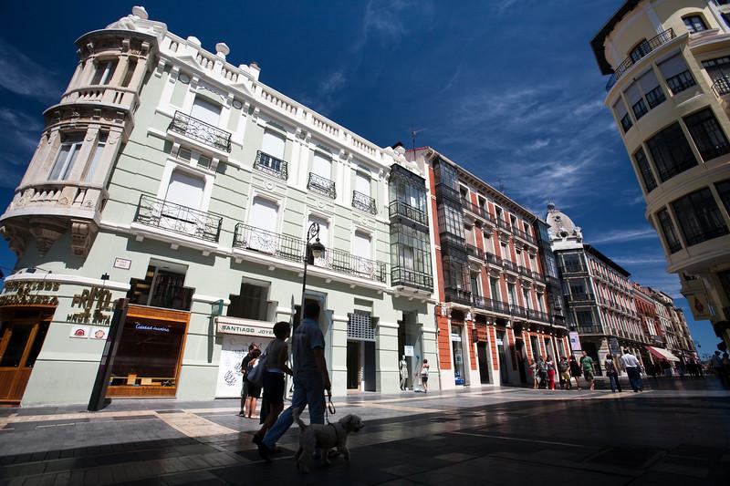 Buildings on Ancha Street, downtown Leon, autonomous community of Castilla y Leon, northern Spain