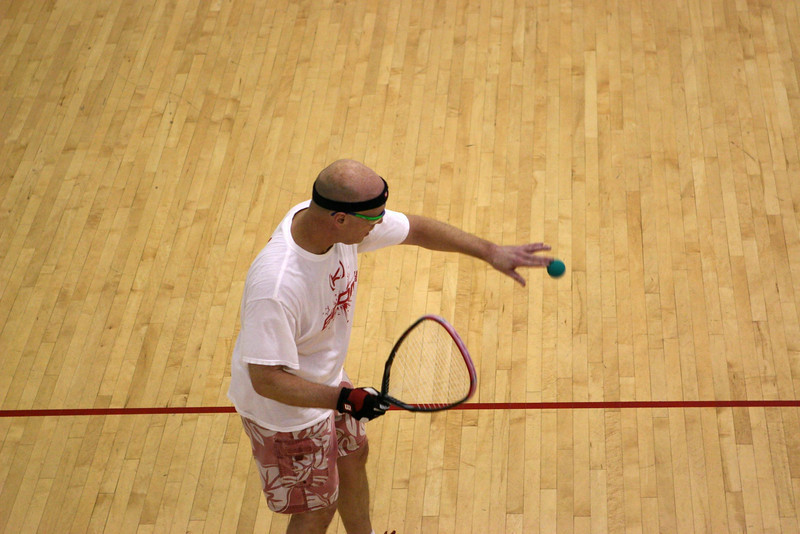 Steve Deaton (The Living Legend) serving to Leon in their Men's Open 1st round match.
