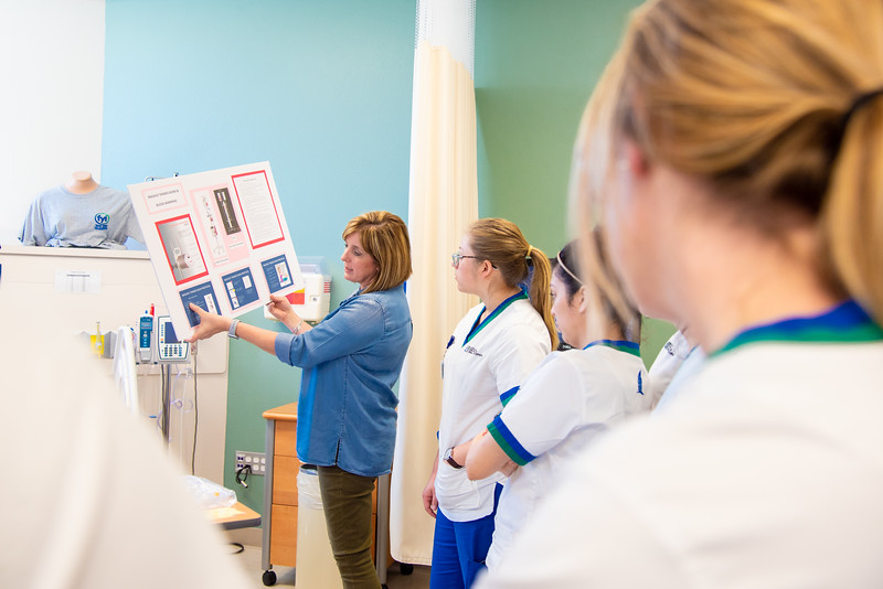 Dr. Stokes lectures her OB Rotation Simulation students on the process of blood transfusions with a visual presentation in the Islander Hall mock hospital.