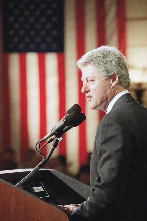 . 1992: Bill Clinton. President-elect Bill Clinton delivers his first major address since the presidential campaign during a Veterans Day ceremony at the Arkansas State Capitol building in Little Rock, Arkansas, Nov. 11, 1992. (AP Photo/Doug Mills)