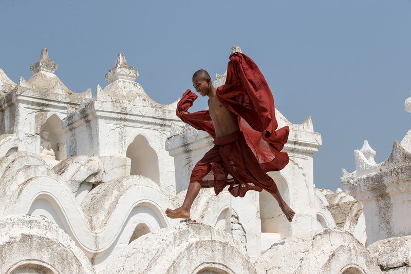 But they were happy to show off jumping from bump to bump along the temple
