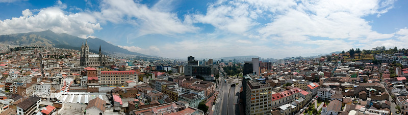 Looking north in Quito. Basilica at the left.