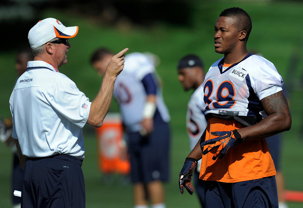 . Denver Broncos head coach John Fox talks with Denver Broncos wide receiver Demaryius Thomas (88) during practice  September 9, 2013 at Dove Valley. (Photo by John Leyba/The Denver Post)