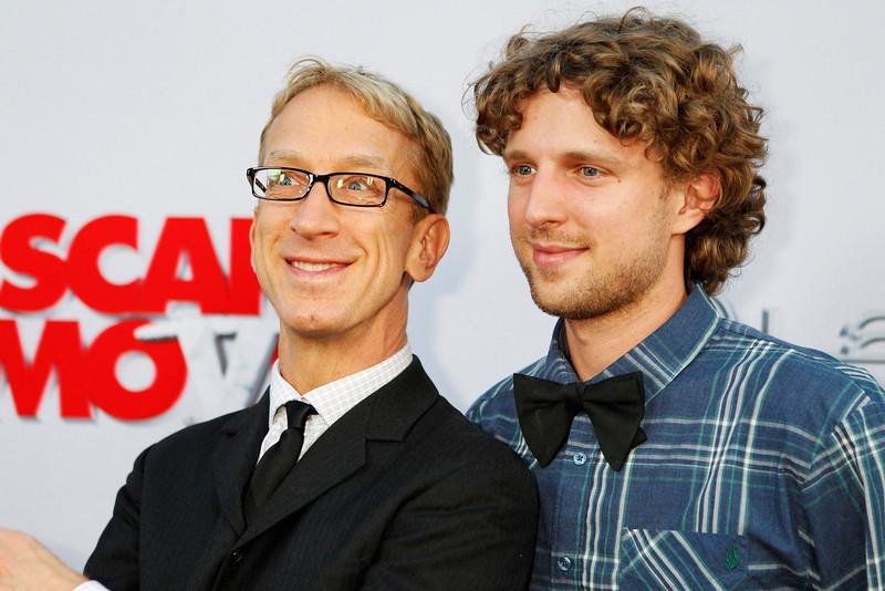 ". U.S. actor Andy Dick (L) and his son Lucas arrive as guests at the premiere of the film ""Scary Movie 5\"" in Hollywood April 11, 2013.  REUTERS/Fred Prouser"