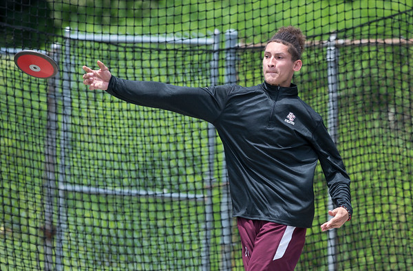06/12/19 Wesley Bunnell | Staff Bristol Central's Jose Navedo competes in the decathlon discus throw at Manchester High School on June 12, 2019.