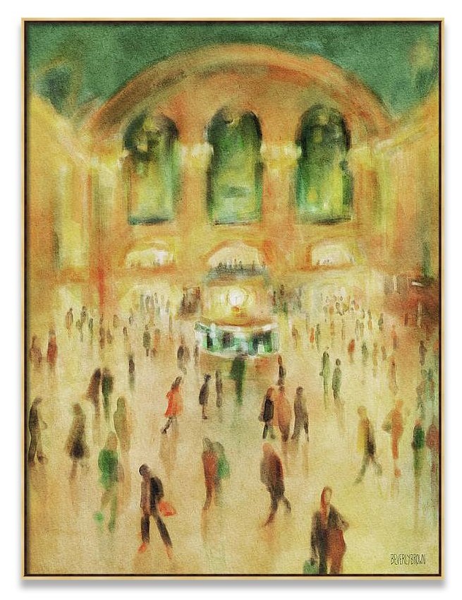 New York painting of commuters at rush hour in Grand Central Terminal.