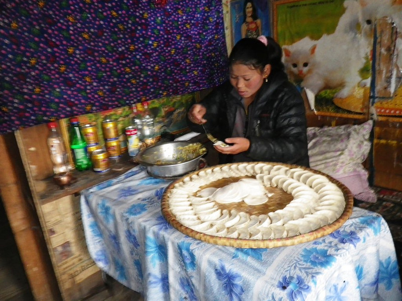 Preparing 'momo' - a typical Nepalese food.