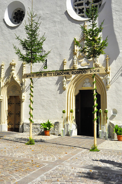 church entrance ready for Radovljican wedding