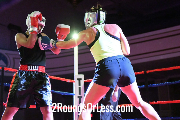 Bout #6:  Crashonna Wynn, Red Gloves, Against The Ropes BC, Cleveland, OH  vs  Shannon Potter, Blue Gloves, Big Dawg, Akron, OH,  141 Lbs., Novice