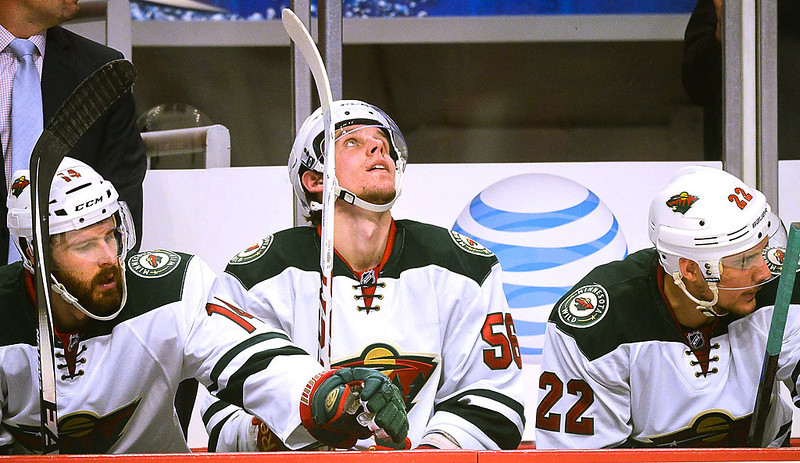 . From left Minnesota Wild\'s Justin Fontaine, Erik Haula and Nino Niederreiter on the bench in the second period. (Pioneer Press: Ben Garvin)