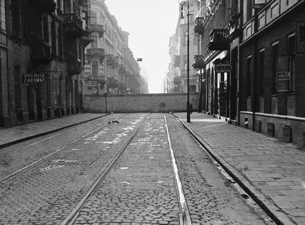 . A wall partitions the central part of Warsaw, Poland, seen Dec. 20, 1940.  It is part of the red brick and grey stone walls built 12 to 15 feet high by the Nazis in 1940 as a pen for Warsaw\'s approximately 500,000 Jews. The Warsaw ghetto uprising against Nazi Germany precipitated the destruction of the walled up area. Nearly all occupants were killed.  (AP Photo)