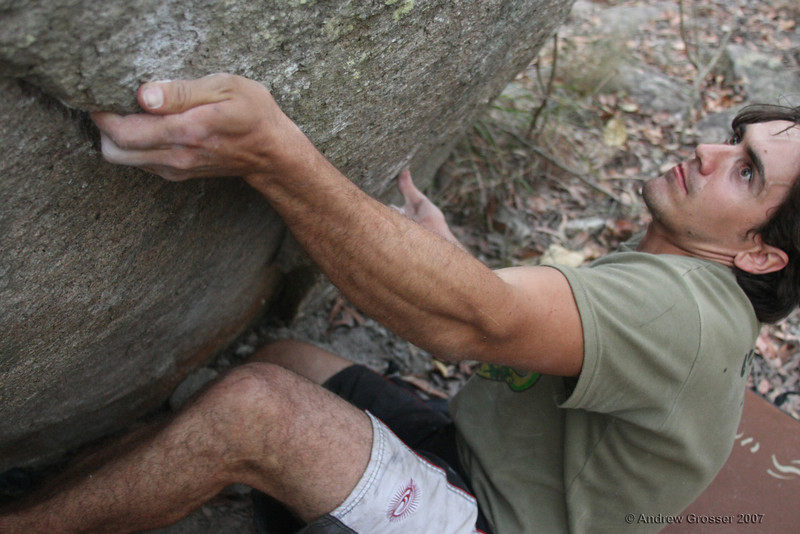 Trent attempting Mr Stupid (V7), Harvyes Marbles. Photo by Andrew Grosser