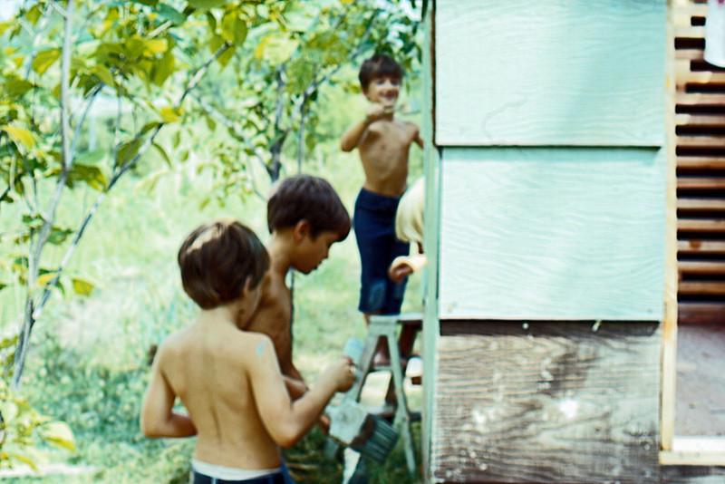 1976-07 - Jon Eide, Randy, Jeff - Painting SWAT HQ