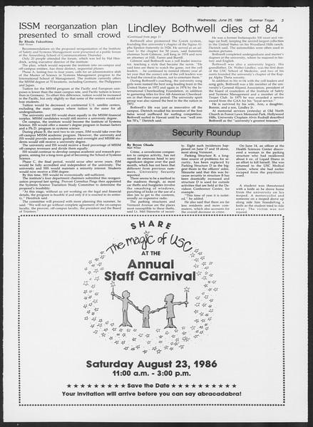Summer Trojan, Vol. 101, No. 6, June 25, 1986
