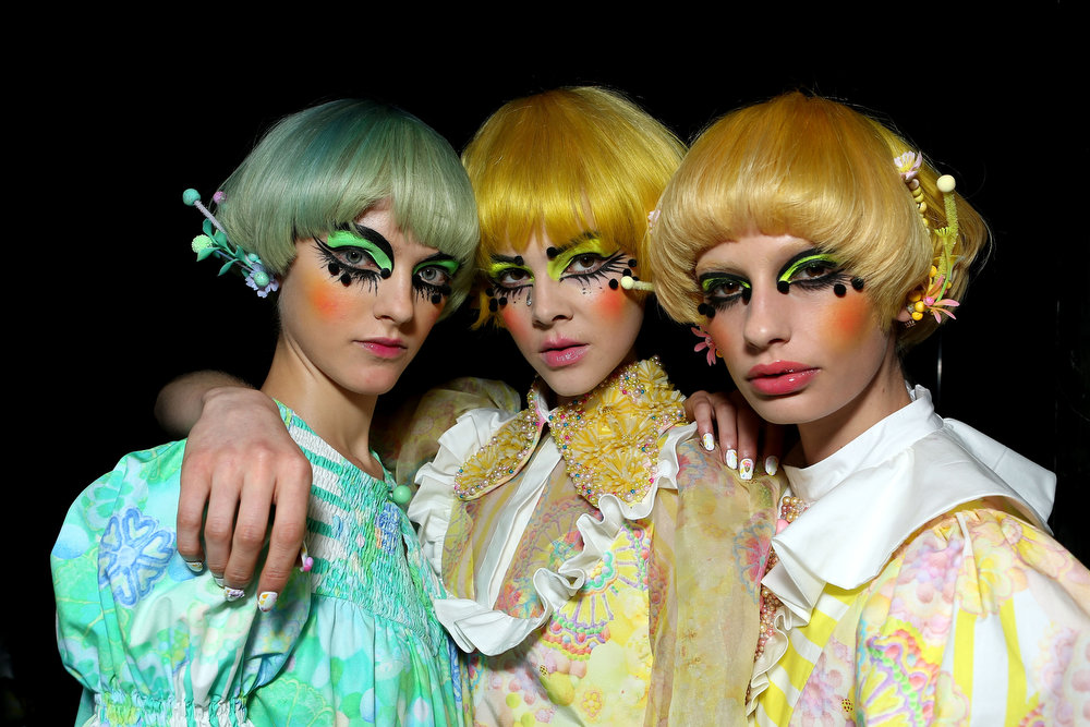 . Models prepare backstage ahead of the Romance Was Born show during Mercedes-Benz Fashion Week Australia Spring/Summer 2013/14  at Carriageworks on April 8, 2013 in Sydney, Australia.  (Photo by Brendon Thorne/Getty Images)