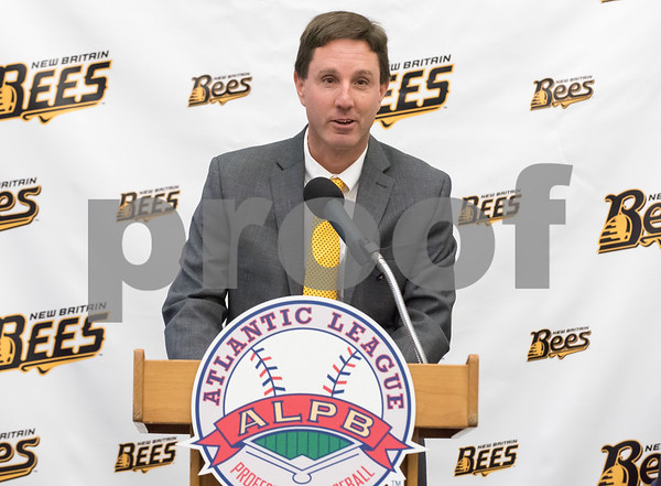 01/11/18 Wesley Bunnell | Staff Former major leaguer Wally Backman was officially introduced as the 2nd New Britain Bees Manager on Thursday afternoon at New Britain City Hall. Bees General Manager Brad Smith.