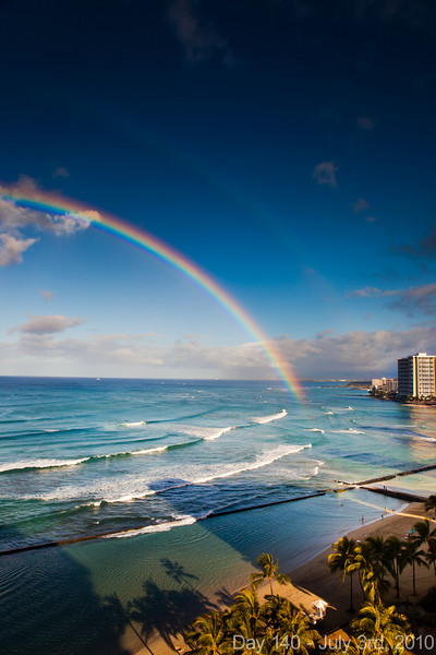 Today, we woke up to a double rainbow over Waikiki. Later, we ran lots of wedding errands, and had dinner with Ricky, who is our hero of last-minute wedding planning!