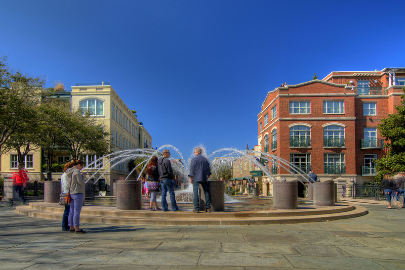 The popular water fountain at the Vendue Range Street entrance to Waterfront Park in downtown Charleston, SC on Saturday, March 9, 2013. Copyright 2013 Jason Barnette