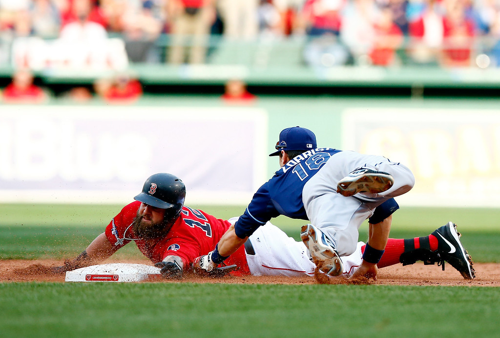 . Mike Napoli #12 of the Boston Red Sox slides into second base as Ben Zobrist #18 of the Tampa Bay Rays tries to make the tag during Game One of the American League Division Series at Fenway Park on October 4, 2013 in Boston, Massachusetts.  (Photo by Jared Wickerham/Getty Images)