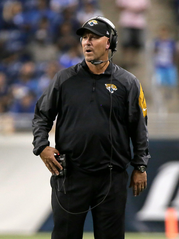. Jacksonville Jaguars head coach Gus Bradley watches against the Detroit Lions in the second half of a preseason NFL football game at Ford Field in Detroit, Friday, Aug. 22, 2014.  (AP Photo/Duane Burleson)