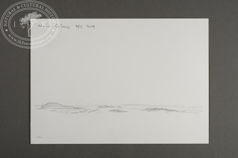 """SSW view from the site of the Field Station at Prins Karls Forland   7.5.2019   """"I want to convey what I see with immediacy and simplicity to make the viewer feel present on the Arctic scene.""""   Måns Sjöberg"""