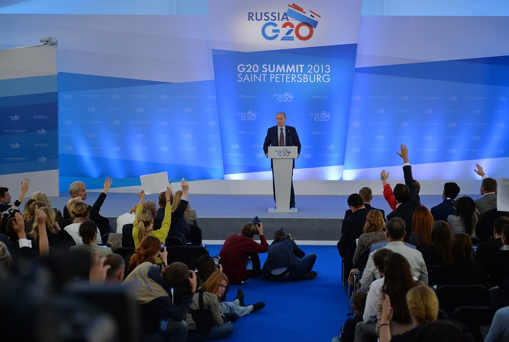 . SAINT PETERSBURG, RUSSIA - SEPTEMBER 06:  In this handout image provided by Host Photo Agency, President of Russia Vladimir Putin helds a press conference on the outcomes of the G20 Leaders\' Summit on September 6, 2013 in St. Petersburg, Russia. Leaders of the G20 nations made progress on tightening up on multinational company tax avoidance, but remain divided over the Syrian conflict during enter the final day of the Russian summit. (Photo by Alexander Vilf/Host Photo Agency via Getty Images)