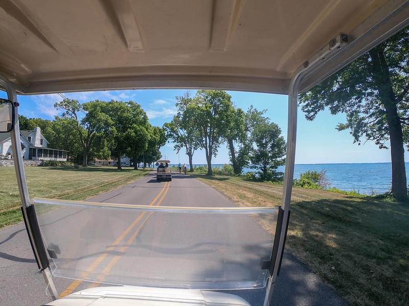 Driving a golf cart on Kelleys Island